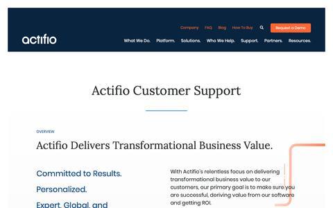 Screenshot of Support Page actifio.com - Customer Support | Actifio - captured June 21, 2019