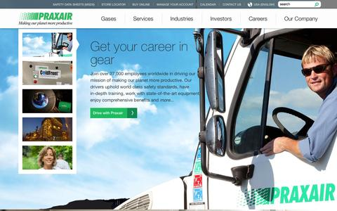 Screenshot of Home Page praxair.com - Industrial Gases, Supply, Equipment & Services | Praxair, Inc. - captured Sept. 19, 2014