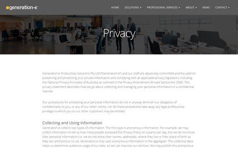 Screenshot of Privacy Page generation-e.com.au - Privacy - Generation-e - captured Oct. 11, 2017