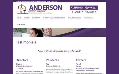 Screenshot of Testimonials Page anpm.ie - Anderson Property Management - TestimonialsANPM - captured Feb. 6, 2016