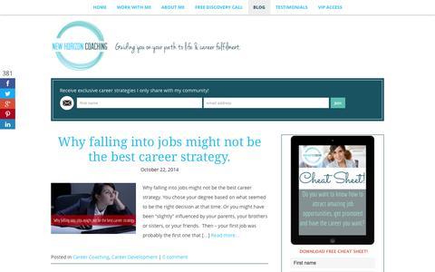 Screenshot of Blog newhorizoncoaching.com.au - Career Tips - Great Blog Full With Career Tips & Advice - captured Oct. 26, 2014