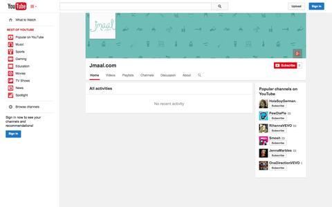 Screenshot of YouTube Page youtube.com - Jmaal.com  - YouTube - captured Oct. 23, 2014