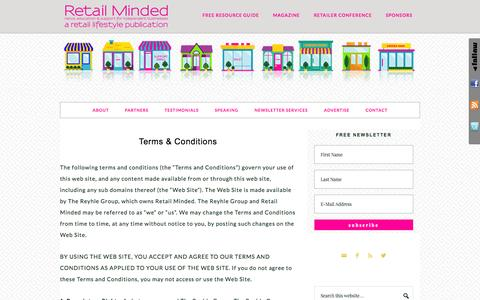 Screenshot of retailminded.com - Terms & Conditions - captured Oct. 3, 2015