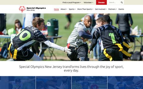 Screenshot of Home Page sonj.org - Special Olympics New Jersey | Transforming Lives Through Sports - captured Oct. 20, 2018