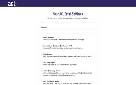 Screenshot of Landing Page acl.com - Update Your Email Preferences - captured Sept. 19, 2018
