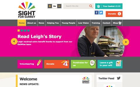 Screenshot of Home Page sightforsurrey.org.uk - Sight for Surrey: Supporting People With Visual Impairment in Surrey - captured Oct. 8, 2014