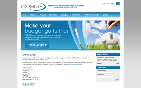 Screenshot of Contact Page promota.co.uk - PROMOTA - Promotional Merchandise Trade Association - captured March 4, 2016