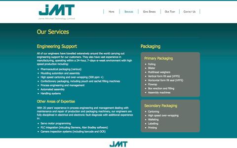Screenshot of Services Page jmtengineering.com - Engineering Support and Packaging Services : JMT Ltd - captured May 27, 2017