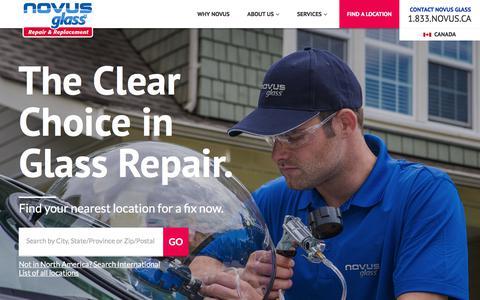 Screenshot of Home Page novusglass.com - Auto Glass Repair - NOVUS Auto Glass Specializes in Auto, Residential & Business Glass - captured Sept. 13, 2019