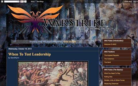 Screenshot of Team Page warstrike.org - WarStrike: The M42 Project: Leadership - captured Oct. 27, 2014