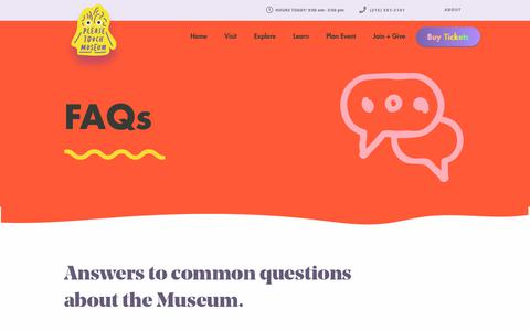 Screenshot of FAQ Page pleasetouchmuseum.org - FAQs - Please Touch Museum | Please Touch Museum - captured July 20, 2018