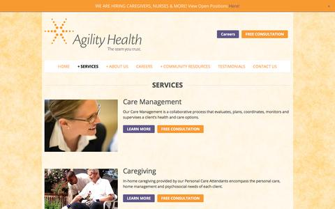Screenshot of Services Page agility-health.org - Services | Agility Health Services - captured Oct. 7, 2017