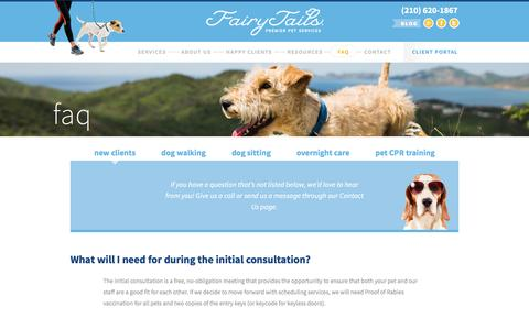 Screenshot of FAQ Page fairytails.com - New Clients – FairyTails Premier Pet Services - captured Nov. 24, 2016