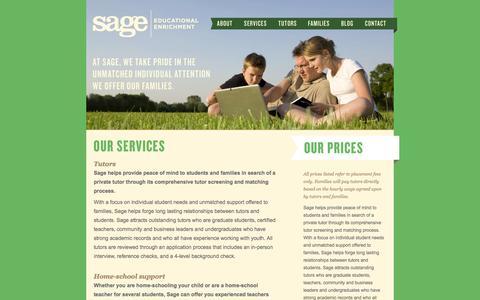 Screenshot of Services Page sageenrichment.com - Our Services | Sage Educational Enrichment - captured Oct. 3, 2014