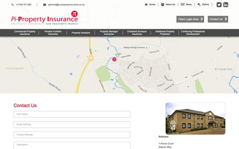 Screenshot of Contact Page pi-propertyinsurance.co.uk - Contact Us - captured July 18, 2018