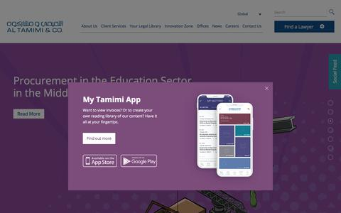 Screenshot of Home Page tamimi.com - The Largest Corporate Law Firm In MENA | Al Tamimi & Company - captured Sept. 21, 2019