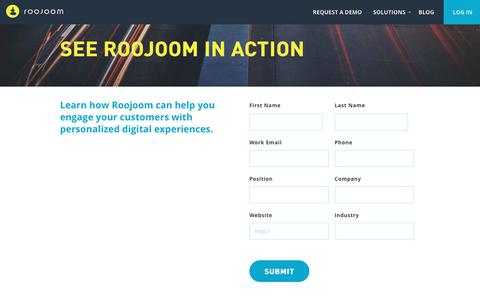 Screenshot of Contact Page roojoom.com - Request a demo > Roojoom - captured July 29, 2017