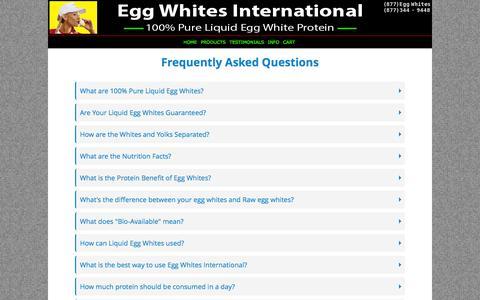 Screenshot of FAQ Page eggwhitesint.com - Egg Whites International - 100% All Natural Pure Liquid Egg Whites | EGG WHITES INTERNATIONAL, LLC. - captured Oct. 28, 2016