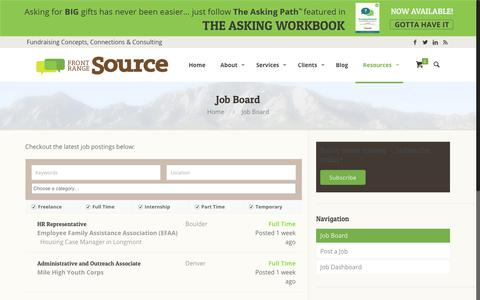 Screenshot of Jobs Page frontrangesource.com - Job Board | Front Range Source - captured Aug. 31, 2018