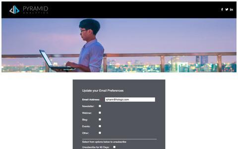 Screenshot of Landing Page pyramidanalytics.com captured April 19, 2018