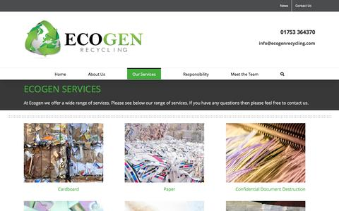 Screenshot of Services Page ecogenrecycling.com - Our Services - Ecogen Recycling - captured Oct. 23, 2016