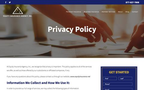 Screenshot of Privacy Page equityinsurance.net - Privacy Policy | Equity Insurance Agency, Inc. of Lombard Illinois - captured Sept. 29, 2018