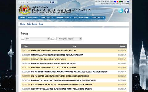Screenshot of Press Page pmo.gov.my - Prime Minister's Office of Malaysia - captured Oct. 3, 2014