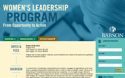 Screenshot of Landing Page babson.edu - Women's Leadership Program: From Opportunity to Action - captured Sept. 25, 2016