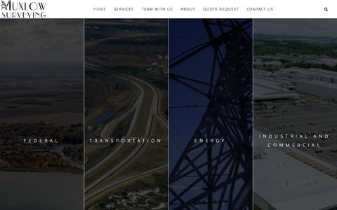 Screenshot of Home Page muxlowsurveying.com - Muxlow Surveying | Serving Federal, Transportation, Energy, Industrial/Commercial and Local Clients - captured Feb. 15, 2016