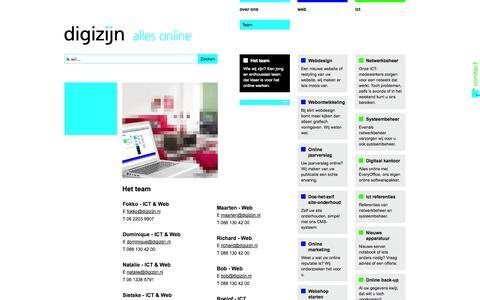 Screenshot of Team Page digizijn.nl - Het team | Alles Online ICT & Web | Digizijn Meppel - captured Sept. 30, 2014
