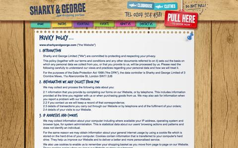 Screenshot of Privacy Page sharkyandgeorge.com - Sharky and George | Privicy Policy - captured Oct. 9, 2014