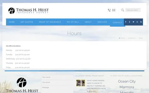 Screenshot of Hours Page heistinsurance.com - Hours | Thomas H. Heist Insurance Agency - captured Oct. 7, 2014