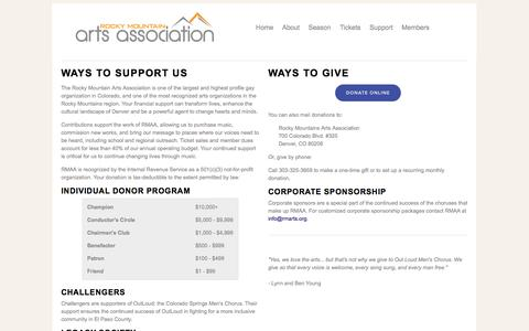 Screenshot of Support Page rmarts.org - Rocky Mountain Arts Association - captured Oct. 6, 2014