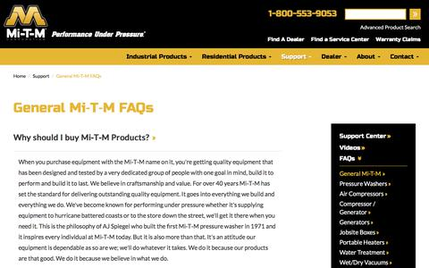 Screenshot of FAQ Page mitm.com - Facts about Mi-T-M Industrial Equipment | Mi-T-M Corporation - captured Oct. 18, 2017
