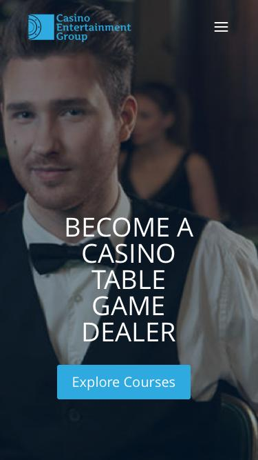 Screenshot of Home Page  ceglasvegas.com - CEG Dealer School is the premier table games dealer school in Las Vegas offering flexible hours and a productive learning environment.