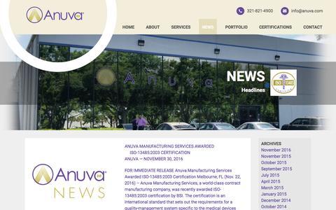 Screenshot of Press Page anuva.com - Anuva Manufacturing Services News - captured May 30, 2017