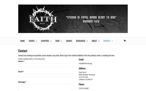 Screenshot of Contact Page faithrxd.org - Contact - Faith Rx'd | Uniting Fitness and Faith - captured June 5, 2017