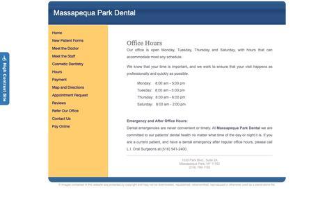 Screenshot of Hours Page massapequaparkdental.com - Massapequa Park Dental : Hours - captured Oct. 31, 2018