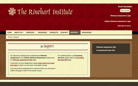 Screenshot of Support Page rinehartinstitute.com - Rinehart Institute :: Support - captured Jan. 11, 2016