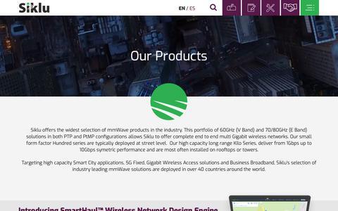 Screenshot of Products Page siklu.com - Products - Siklu Communication Ltd - captured Oct. 18, 2018