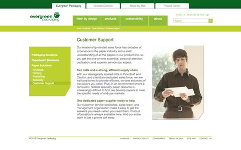 Screenshot of Support Page evergreenpackaging.com - Customer Support - captured Sept. 30, 2014
