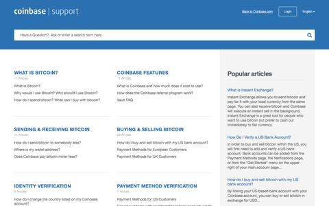 Screenshot of Support Page coinbase.com - Coinbase |      Support - captured Nov. 3, 2015
