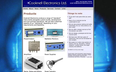 Screenshot of Products Page cooknell-electronics.co.uk - Products - captured Sept. 30, 2014