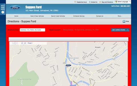 Screenshot of Maps & Directions Page suppesford.net - Directions at Suppes Ford - Your Johnstown, Pennsylvania Ford dealer - captured June 20, 2016