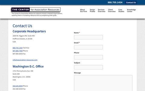 Screenshot of Contact Page association-resources.com - Contact the Center for Association Resources - captured Dec. 2, 2016