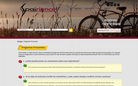 Screenshot of FAQ Page spairience.com - Spairience! Turismo de Experiencias - captured Oct. 9, 2014