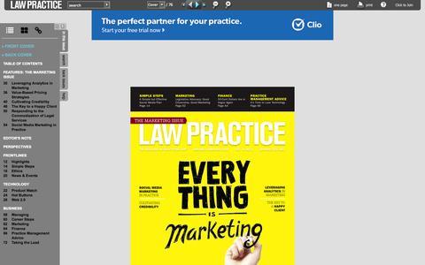 Screenshot of lawpracticemagazine.com - Law Practice  - January/February 2015 - captured Sept. 20, 2015