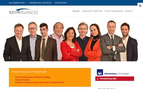 Screenshot of Home Page keymfinances.be - Assurances Keym Finances - Bruxelles - captured Aug. 9, 2016