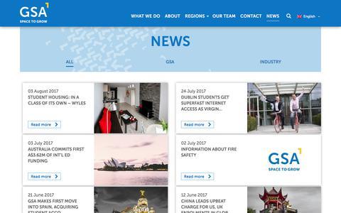 Screenshot of Press Page gsa-gp.com - News - GSA - captured Aug. 14, 2017
