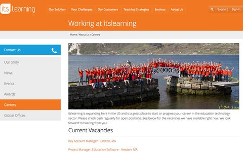Screenshot of Jobs Page itslearning.net - learning platform - itslearning   Working at itslearning - captured Oct. 6, 2014